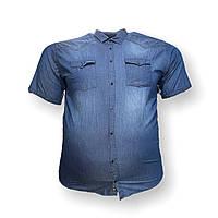 Чоловіча джинс сорочка з коротким рукавом Barcotti 16088 2XL 3XL 4XL 5XL 6XL синя великі розміри батал Туреччина, фото 1