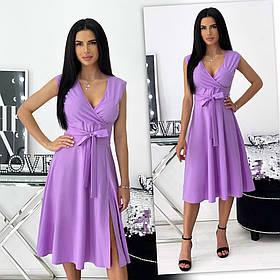 Летнее однотонное платье с разрезом: 6 цветов 24-1437