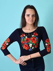 """Женская футболка-вышиванка """"Багряні маки""""  , рукав 3/4,  р. 42,44,46,48,50 т.синяя"""