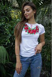 """Жіноча футболка ошатна - вишиванка """"Глорія"""" , р. 42,44,46 біла"""