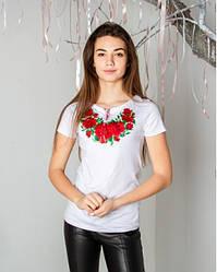 """Жіноча футболка ошатна - вишиванка """"Глорія"""" , р. 42,44,46,48,50,52-54, 56-58 біла"""