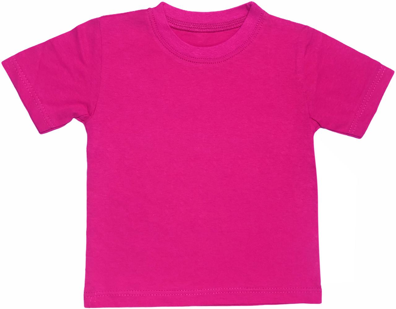Дитяча футболка на дівчинку ріст 104 3-4 роки для дітей однотонна яскрава літня кулір бавовна малинова