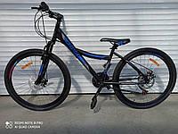 """Горный велосипед Azimut Navigator 26""""D рама 13""""полуавтомат, противоударные колеса черно-синий+крылья в ПОДАРОК"""
