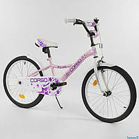"""Велосипед детский CORSO 20"""" дюймов 2-х колёсный для девочек РОЗОВЫЙ ручной тормоз, звоночек, СОБРАННЫЙ НА 75%"""