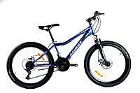 """Горный подростковый велосипед Azimut Forest 24""""D стальная рама 12,5""""собран.в кор синий+крылья в ПОДАРОК"""