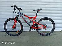 """Горный двухподвесный велосипед Azimut Scorpion 26""""D рама 17"""" собран в коробке + КРЫЛЬЯ в ПОДАРОК  красно-серый"""