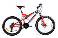 """Горный подростковый двухподвесный велосипед Azimut Scorpion 24""""D рама 17"""" собран.в коробке красно-серый"""
