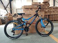"""Горный подростковый двухподвесный велосипед Azimut Scorpion 24""""D рама 17"""" собран.в коробке  черно-синий"""