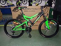 """Горный подростковый двухподвесный велосипед Azimut Scorpion 24""""GD собран.в коробке черно-зеленый компл.Shimano"""