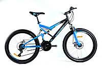 """Горный подростковый двухподвесный велосипед Azimut Scorpion 24"""" GD собран.в коробке черно-синий компл.Shimano"""