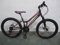 """Горный велосипед Azimut Pixel 26""""D стальная рама 14"""" собран в коробке черно-розовый"""