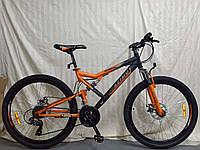 """Горный двухподвесный велосипед Azimut Scorpion 26""""D рама 17"""" собран в коробке + КРЫЛЬЯ в ПОДАРОК  черно-оранже"""