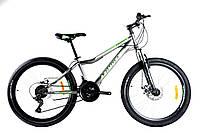 """Горный подростковый велосипед Azimut Forest 24""""GD рама 12,5"""" 21 скорость от Shimanoсобран.в кор. СЕРЫЙ"""