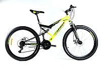 """Горный подростковый двухподвесный велосипед Azimut Scorpion 24""""GD собран.в коробке компл. Shimano черно-желтый"""