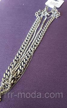 Ювелирная, позолоченная цепь с якорным переплётом Xuping. Брендовые элитные цепи бижутерии R.R.R. 46