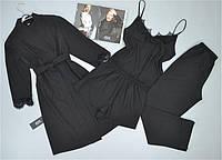 Черный комплект с кружевом для сна и отдыха 4 предмета.