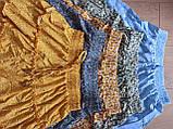 Женские легкие летние юбки на резинке в цветочный принт - желтая, зеленая, синяя, фото 2