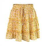 Женские легкие летние юбки на резинке в цветочный принт - желтая, зеленая, синяя, фото 7