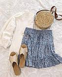 Женские легкие летние юбки на резинке в цветочный принт - желтая, зеленая, синяя, фото 9