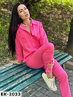 Женский стильный льняной костюм с рубашкой и брюками