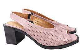 Босоножки женские на каблуке из натуральной кожи, розовые Mario Muzi Турция