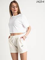 Жіночі спортивні шорти з двуніткі Mishely №1422 L, Молочний