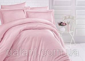 Двоспальний рожевий комплект постільної білизни з страйп-сатину