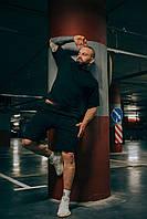 Костюм летний спортивный ABC Oversize Мужской хлопковый футболка шорты (Размер S) Черный