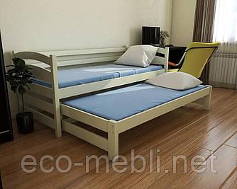 Ліжко дитяче Бонні з додатковим спальним місцем з натурального дерева  (бук) Луна