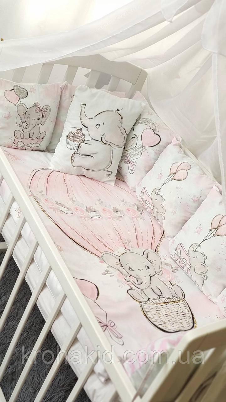 """Набор постельного белья детскую кроватку/ манеж """"Слоник"""" - Бортики в кроватку / Защита в детскую кроватку"""