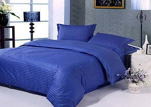 Двоспальний синій комплект постільної білизни з страйп-сатину