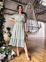 Женское летнее платье миди с разрезом на одну ногу, фото 1