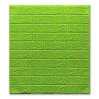 Самоклеючі шпалери Декоративна 3D панель ПВХ 1 шт, зелений (салатовий) цеглу 5 мм