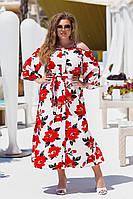 Женское летнее платье на пуговицах в цветочный принт (большие размеры)