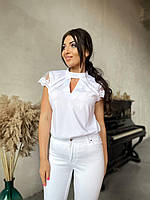 Женская белая блуза с кружевом батал