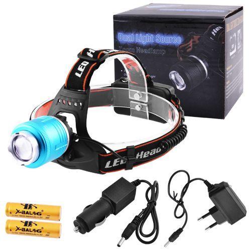 Ліхтар налобний Police T105-T6+COB,У 220V/12V, 2x18650, zoom, B Ліхтарик для риболовлі
