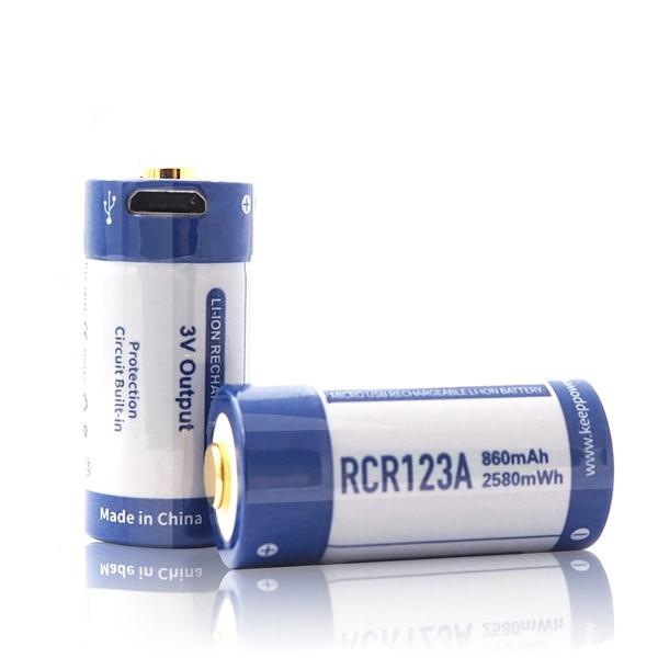 Акумулятор Keeppower RCR123A 3V 860 mAh USB (пара)
