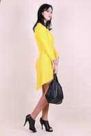 Вязаное желтое платье туника с шлейфом