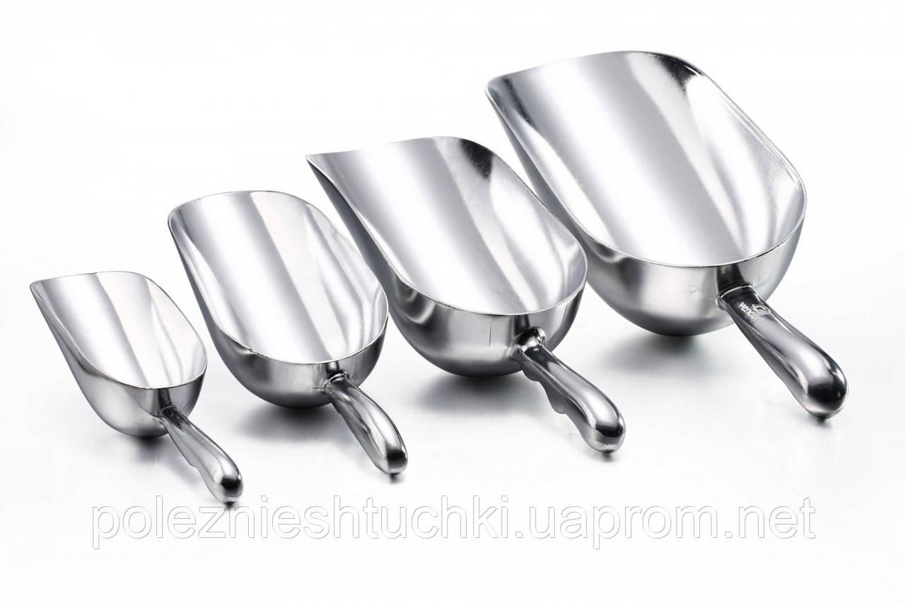 Совок алюминиевый для сыпучих и льда 170 гр, 190 мм
