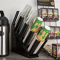 Диспенсер-подставка для бумажных стаканов и крышек 4 ячейки 47х11,5х45,5 см. пластиковый