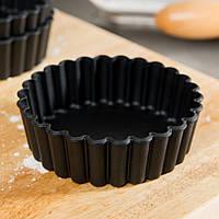 Набір форм для випічки 10х3 див., 12 шт. круглі-хвилясті, сталь (для тарта) Exal, Matfer