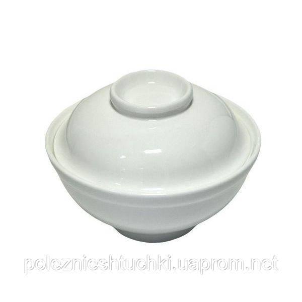Тарілка для місо-супу з кришкою 430 мл порцеляновий, біла Fudo, FoREST