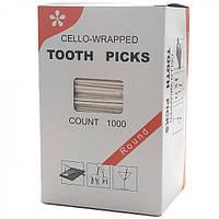 Зубочистки в індивідуальній целофановій упаковці 6,5 див., 1000 шт/уп. (25247)