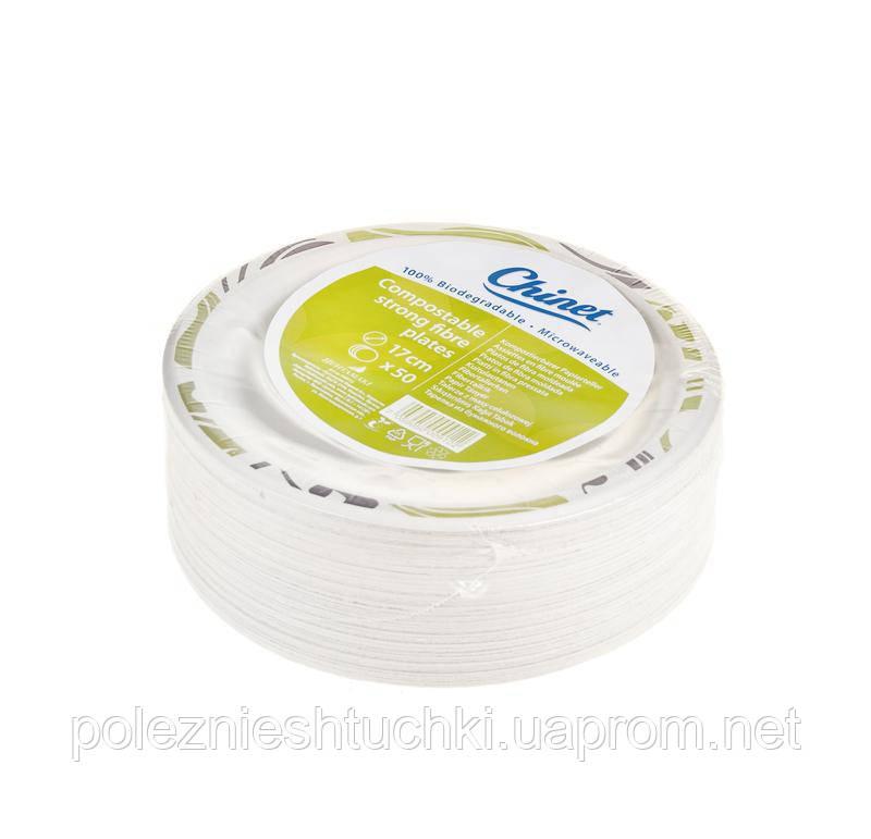 Тарелка одноразовая круглая 22 см., 50 шт/уп бумажная, белая с рисунком Chinet Мозаика, Huhtamaki