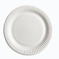Тарелка одноразовая круглая 23 см., 100 шт/уп бумажная, белая