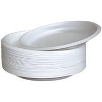 Тарелка одноразовая круглая 20,5 см., 100 шт/уп пластиковая, белая SafePro