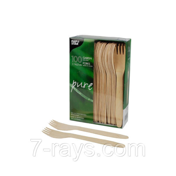Вилка одноразовая столовая 16,5 см., 100 шт/уп деревянная