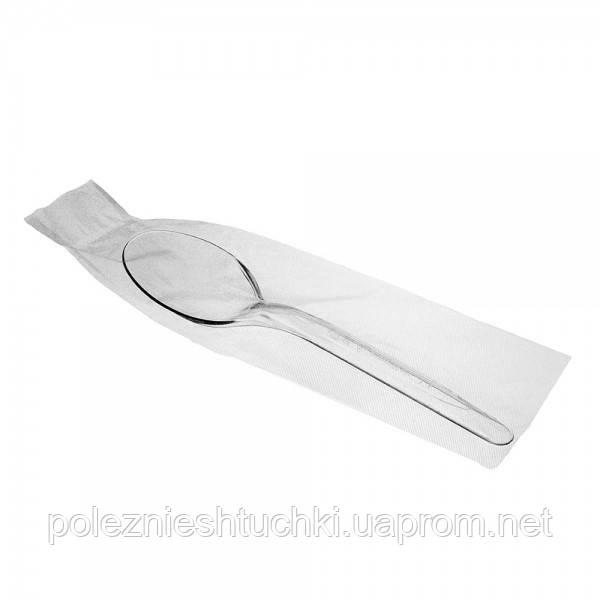 Ложка одноразова їдальня в індивідуальній упаковці 16 див., 100 шт/уп стеклоподобная, прозора
