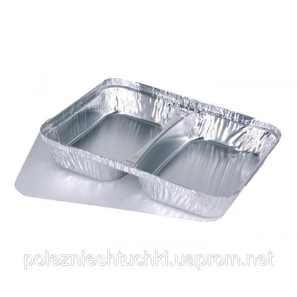 Контейнер 2-х секционный 22,7х17,7х3 см., 520/320 мл., 100 шт/уп алюминиевый, прямоугольный (крышка