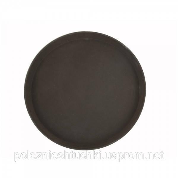 Піднос для офіціанта з скловолокна нековзний коричневий 36 див. круглий